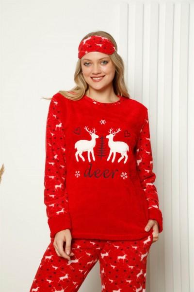 Moda Çizgi - Moda Çizgi Welsoft Polar Kadın Manşetli Pijama Takımı 8421