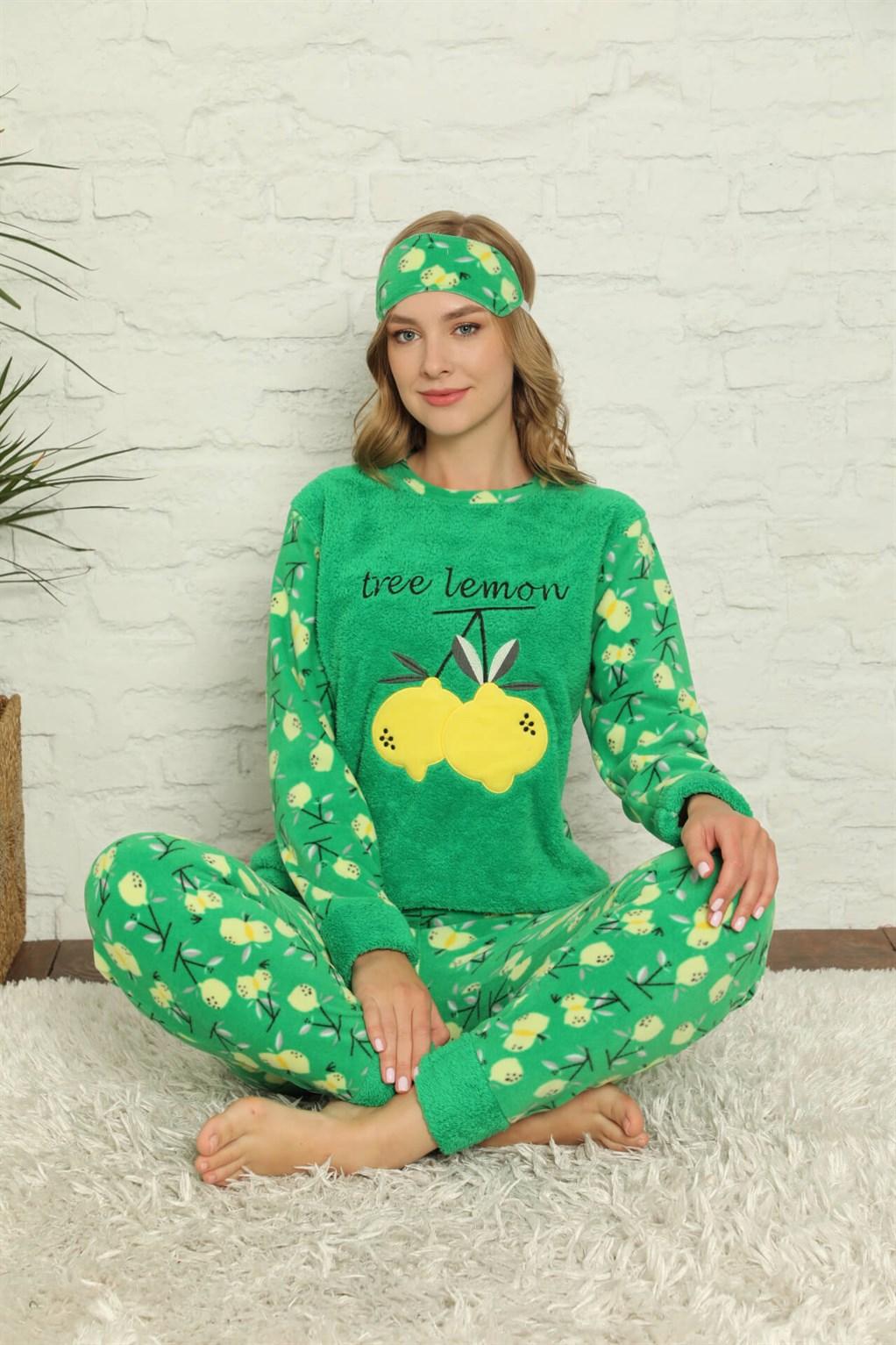Moda Çizgi Welsoft Polar Kadın Manşetli Pijama Takımı 8424