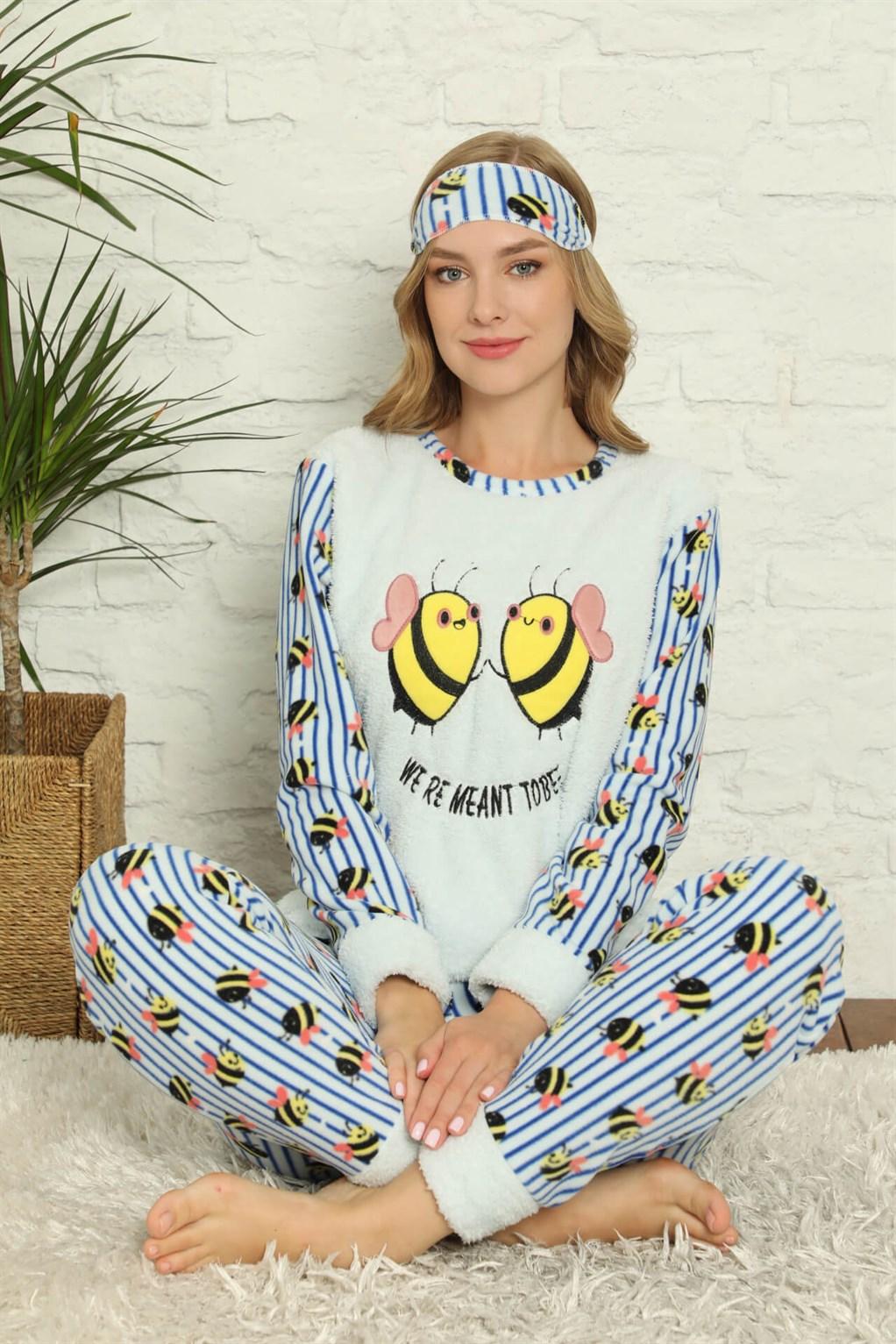 Moda Çizgi Welsoft Polar Kadın Manşetli Pijama Takımı 8425