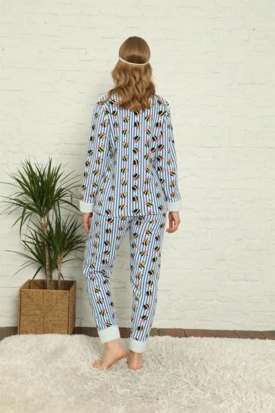 Moda Çizgi Welsoft Polar Kadın Manşetli Pijama Takımı 8425 - Thumbnail