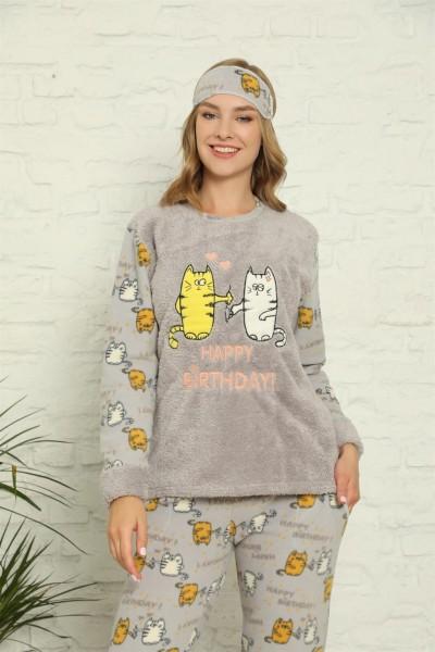 Moda Çizgi - Moda Çizgi Welsoft Polar Kadın Manşetli Pijama Takımı 8426