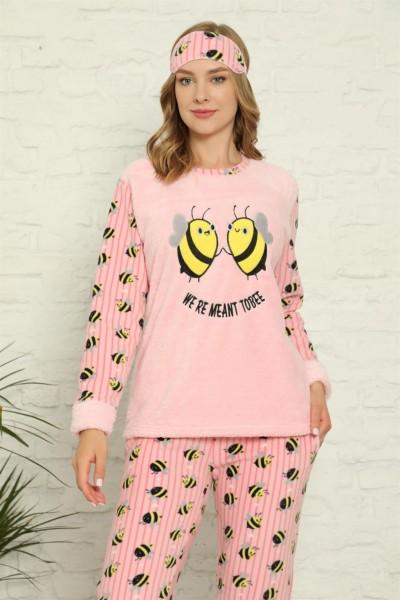 Moda Çizgi - Moda Çizgi Welsoft Polar Kadın Manşetli Pijama Takımı 8427