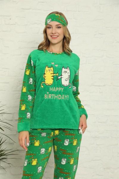 Moda Çizgi - Moda Çizgi Welsoft Polar Kadın Manşetli Pijama Takımı 8428
