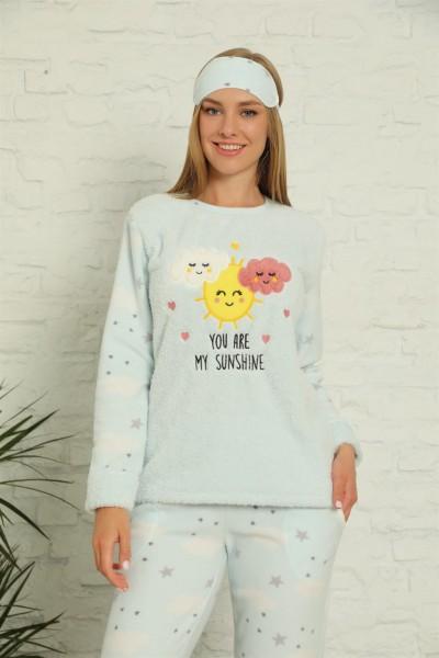 Moda Çizgi - Moda Çizgi Welsoft Polar Kadın Manşetli Pijama Takımı 8430