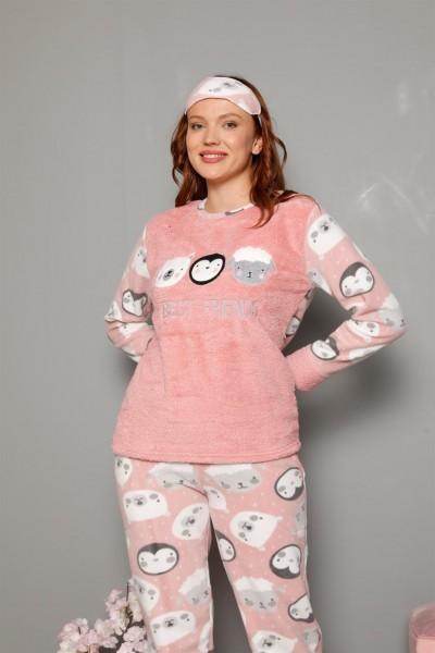 Moda Çizgi - Moda Çizgi Welsoft Polar Kadın Manşetli Pijama Takımı 8451