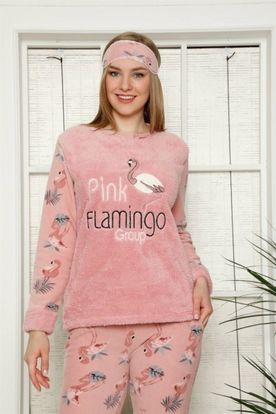 Moda Çizgi - Moda Çizgi Welsoft Polar Kadın Manşetli Pijama Takımı 8453