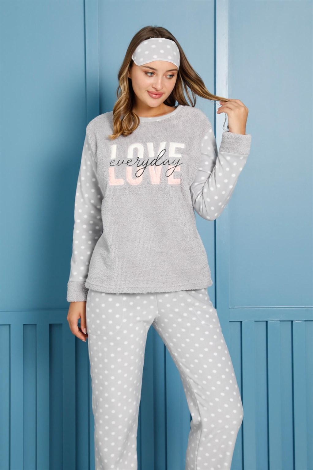 Moda Çizgi Welsoft Polar Kadın Pijama Takımı 8458