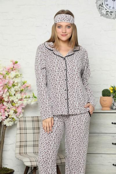 Moda Çizgi - Moda Çizgi Welsoft Polar Önden Düğmeli Kadın Pijama Takımı 8082