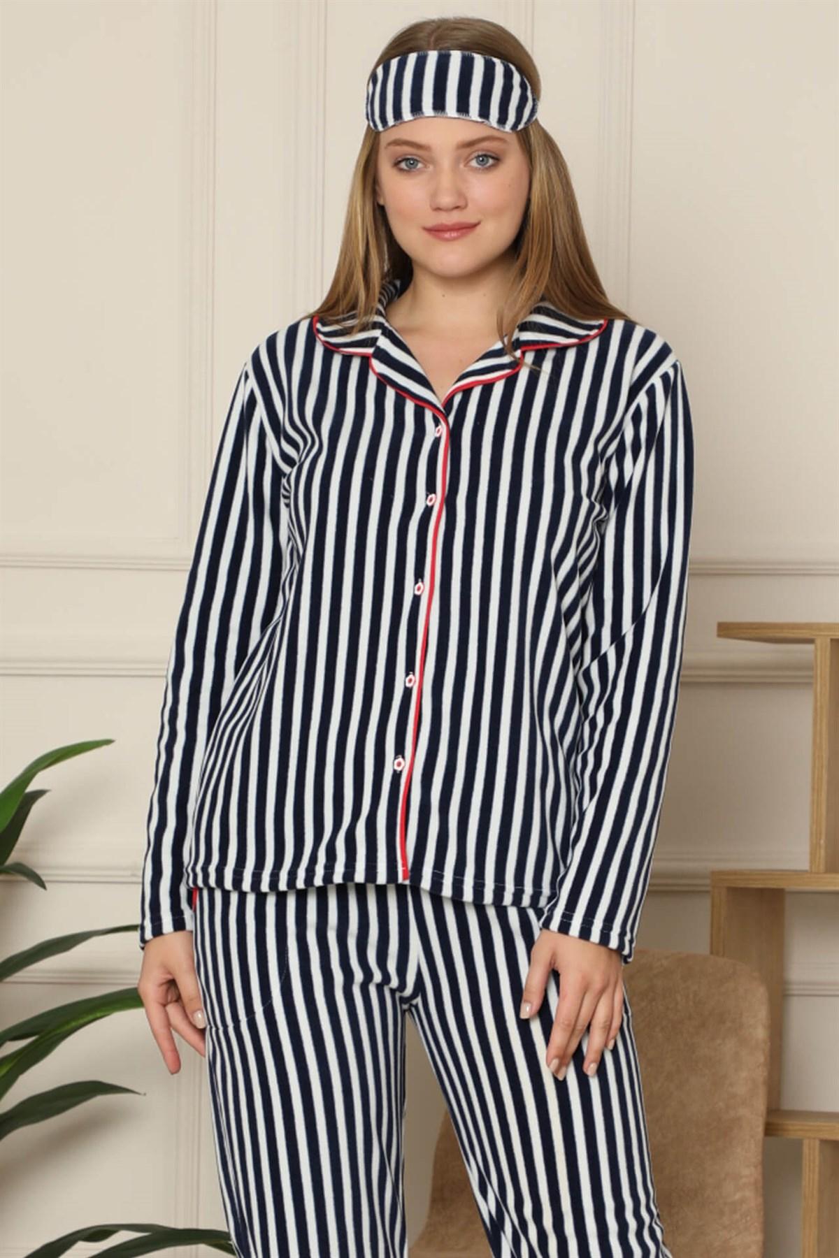 Moda Çizgi Welsoft Polar Önden Düğmeli Kadın Pijama Takımı 8086