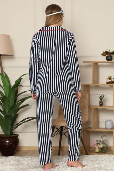 Moda Çizgi Welsoft Polar Önden Düğmeli Kadın Pijama Takımı 8086 - Thumbnail