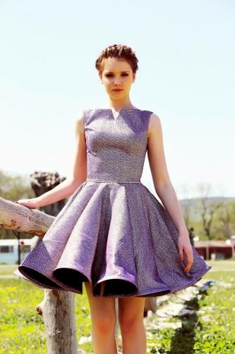 Moda Çizgi - Mor-Silver Kısa Abiye Elbise