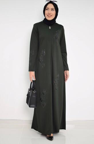 Moda Çizgi - Nakışlı Ferace mdc 2031 Haki