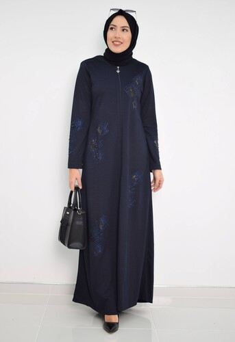 Moda Çizgi - Nakışlı Ferace mdc 2031 Lacivert
