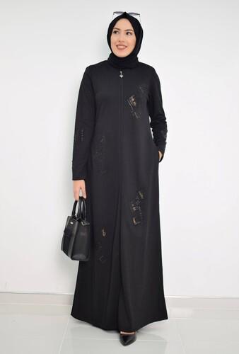 Moda Çizgi - Nakışlı Ferace mdc 2031 Siyah