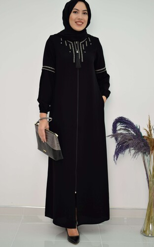 Moda Çizgi - NAKIŞLI FERACE SİYAH MC2007