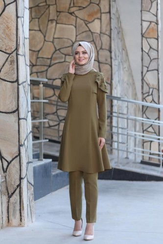 Moda Çizgi - Pelerinli Takım Elbise mc0034 Haki