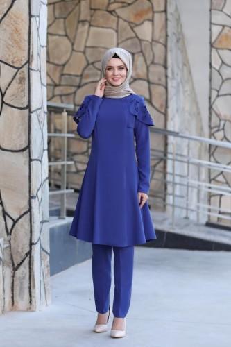Moda Çizgi - Pelerinli Takım Elbise mc0034 İndigo