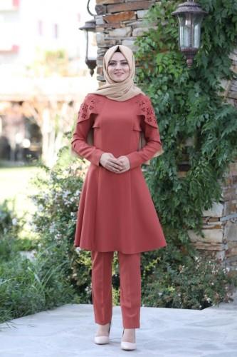Moda Çizgi - Pelerinli Takım Elbise mc0034 Kiremit