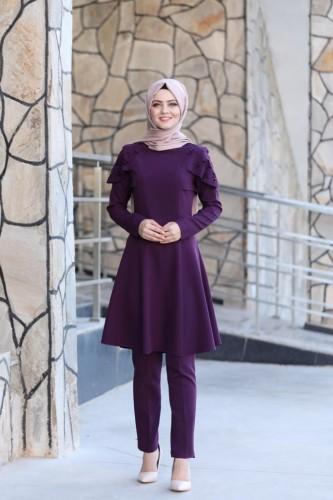 Moda Çizgi - Pelerinli Takım Elbise mc0034 Mor