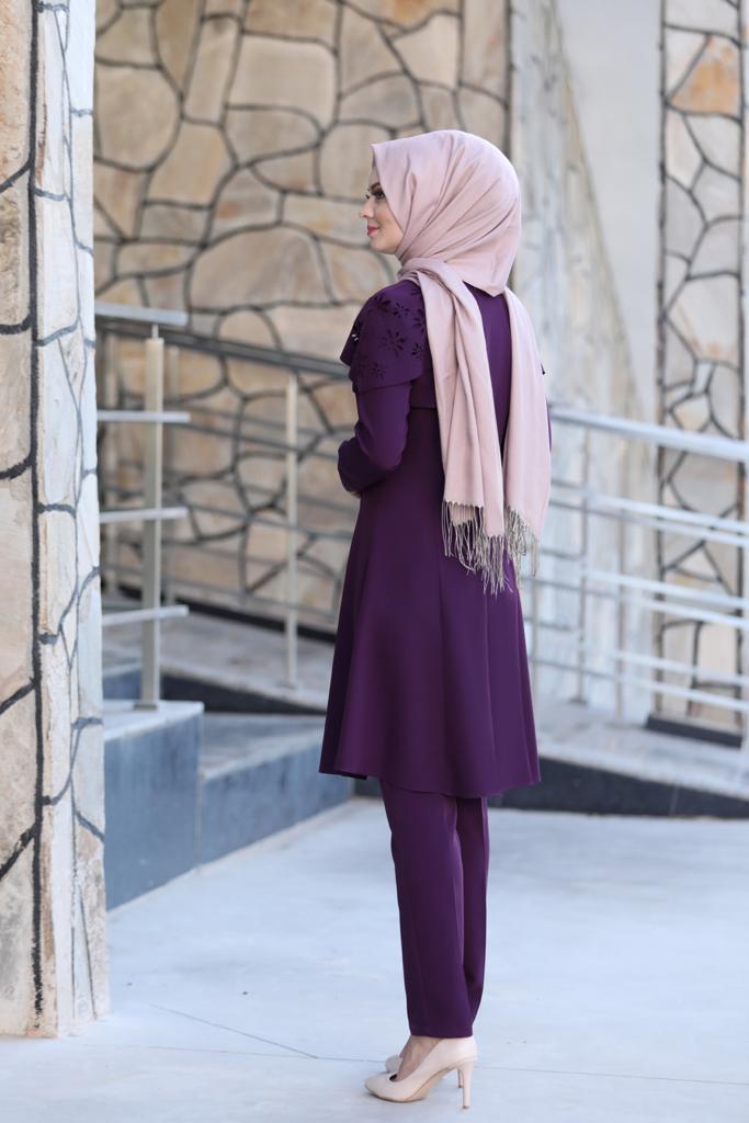 Pelerinli Takım Elbise mc0034 Mor