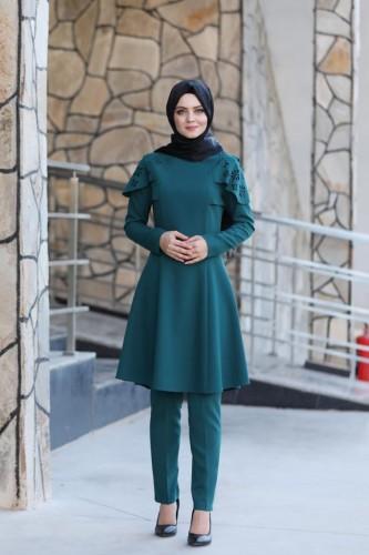 Moda Çizgi - Pelerinli Takım Elbise mc0034 Petrol