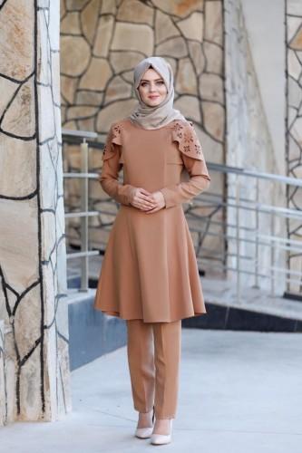 Moda Çizgi - Pelerinli Takım Elbise mc0034 Taba