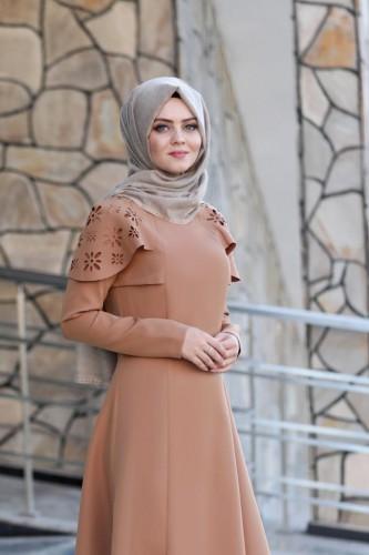Pelerinli Takım Elbise mc0034 Taba - Thumbnail