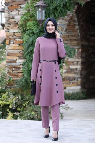 Moda Çizgi - Pileli Takım Elbise MC0035 Gül Kurusu