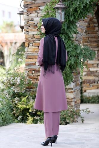 Pileli Takım Elbise MC0035 Gül Kurusu - Thumbnail