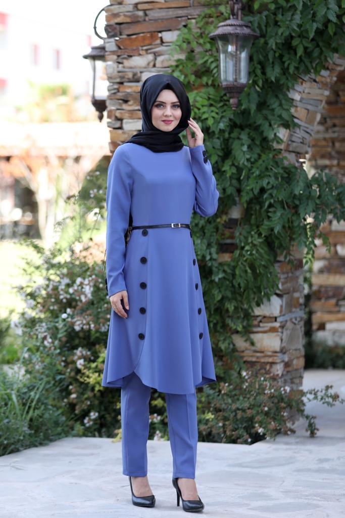 Pileli Takım Elbise MC0035 İndigo