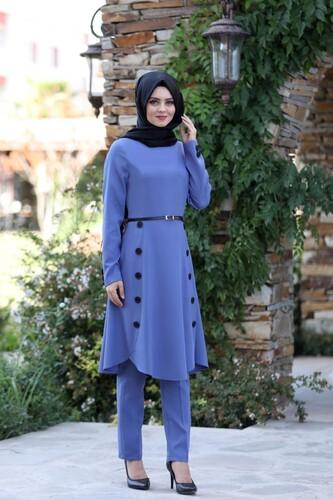 Moda Çizgi - Pileli Takım Elbise MC0035 İndigo