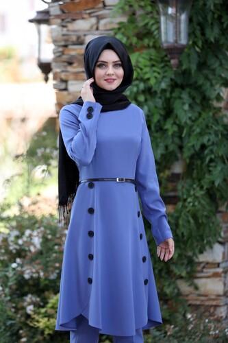 Pileli Takım Elbise MC0035 İndigo - Thumbnail