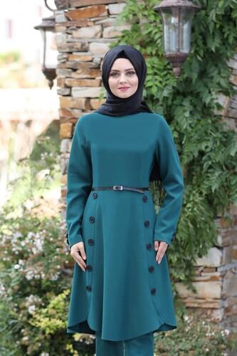 Moda Çizgi - Pileli Takım Elbise MC0035 Petrol