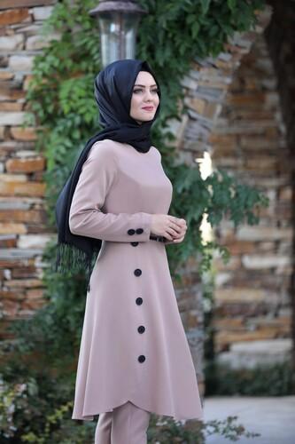 Moda Çizgi - Pileli Takım Elbise MC0035 Pudra
