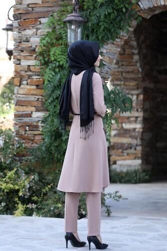 Pileli Takım Elbise MC0035 Pudra - Thumbnail