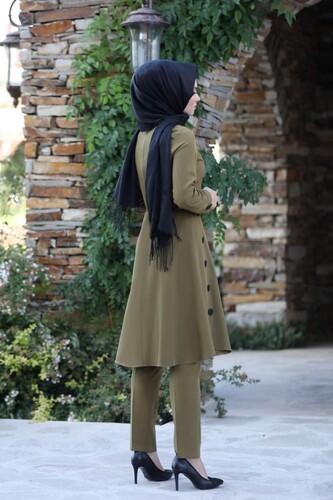 Pileli Takım Elbise MC0035 Vizon - Thumbnail
