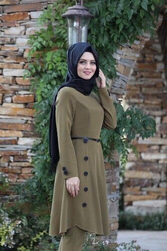 Moda Çizgi - Pileli Takım Elbise MC0035 Vizon
