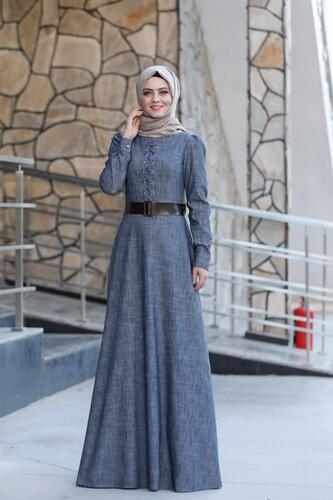 Tensel Kumaş Bağcıklı Elbise mdc9632 - Thumbnail