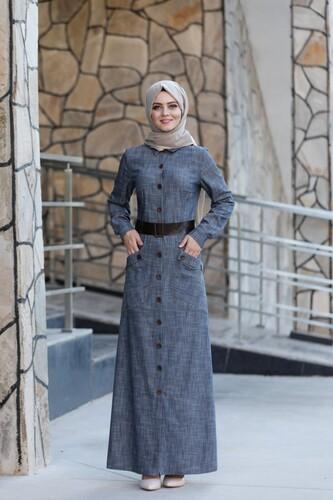 MODAÇİZGİ - Tensel Kumaş Düğme Detay Elbise mdc9634