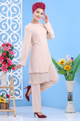 Moda Çizgi - Tesettür Tunik Pantolon Taş 1188