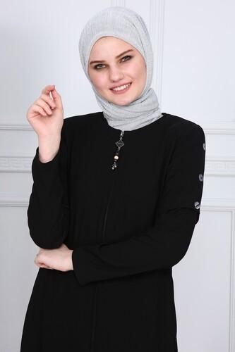 Moda Çizgi - Yanları Boncuk detaylı ferace MDC2151 Siyah