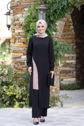 Moda Çizgi - Yırtmaç Detaylı Takım mdc 1133 Siyah